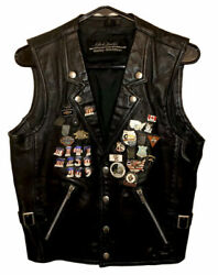 Vintage Harley Davidson Hein Gericke Black Leather Size Small 31 Pins And 2 Patch