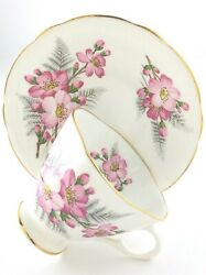 Vintage Teacup Saucer Clarence Bone China Made In England Cherry Blossoms T023