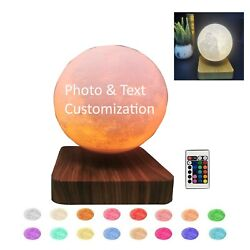 Custom Led Moon Lamp Night Light Rotating Personalized Text Engraved Table Lamps