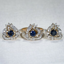 Antique 3.50ctw Natural Diamond Sapphire Ring Earrings Set 14k Yellow Gold