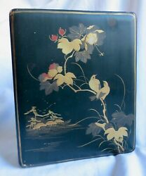 Antique 19th C Japanese Lacquer Box Bird And Butterfly Decoration Not Signed