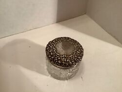 Vintage Collectible Unger Bros. 7 Panel Glass Vanity Jar With Sterling Lid