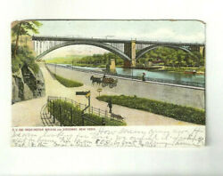 Glitter Card Washington Bridge And Speedway New York City 1906 Horse And Wagon