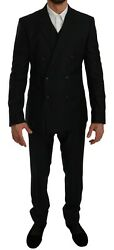 Dolce And Gabbana Suit Martini Blue Double Breasted 3 Piece Eu50/ Us40/l Rrp 2800