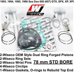 Sea Doo 650 657 Gtx Spx Xp Xpi 78 Mm Std Bore Wiseco Forged Pistons Gaskets