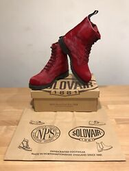 Nps Solovair Red Ponny Hair Leather 8 Eye Derby Boot Sizeuk8 Newonly Andpound169.90