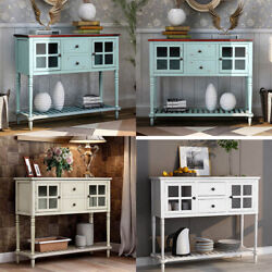 Wood/glass Sideboard Buffet Console Table W/drawer Cabinet Entryway Living Room