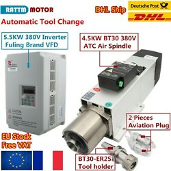 【fr】4.5kw 380v Atc Automatic Tool Change Air Cooled Spindle Motor Bt30+5.5kw Vfd