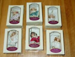 6 Vtg Christmas Porcelain Doll Ornaments - Dg Creations In Boxes And Handpainted