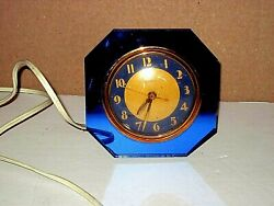 Vintage Art Deco Blue Glass And Gold Electric Clock By Warren Telechron Works