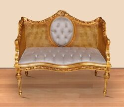 Louis Xiv 2 Seats Sofa With Double Cane Wicker Gold Frame Nice Beige Velvet