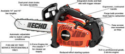 Echo Cs355t-14 Top Handle Chainsaw 35.8 Cc Engine With 14 Bar And Chain