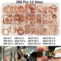 280pcs Set Car Auto Drain Bolt Crush Washer Copper Oil Plug Gasket Seal Rings Uk