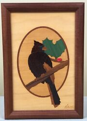 Hudson River Wood Inlay Cardinal Marquetry Panel By Jeff Nelson 7x10 Exc. Cond.