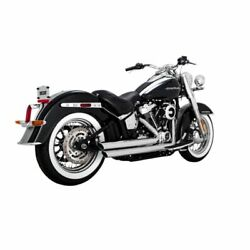 Vance And Hines Chrome Big Shots Staggered Exhaust For Harley Softail Flde 18-19