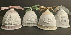 4 Lladro Porcelain Bell Annual Christmas New Year Ornaments 1987 1988 1989 2004