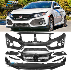 Fits 16-20 Honda Civic Type-r Style Front Bumper Cover + Glossy Grille + Lip
