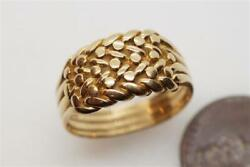 Heavy Antique English 18k Gold Triple Row Weave Keeper Ring C1897