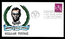 1036 4c Stamp 1954 -- Abraham Lincoln -- Ross M. Knoble Hand Painted Fdc