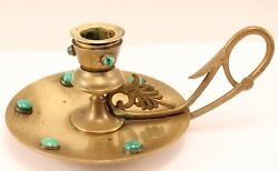 Antique Brass Engraved Design Chamberstick With Jeweled Malachite Cabochons