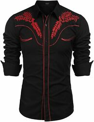 Coofandy Menand039s Western Shirts Long Sleeve Slim Fit Embroideres Cowboy Casual But