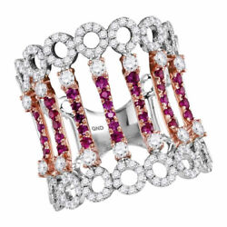 14kt Two-tone White Rose Gold Womens Round Ruby Diamond Cocktail Fashion Ring