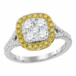 18kt White Gold Womens Round Yellow Diamond Square Cluster Ring 1-1/3 Cttw