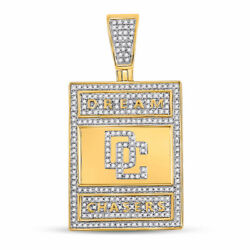 10kt Yellow Gold Mens Round Diamond Dream Chasers Charm Pendant 3/4 Cttw
