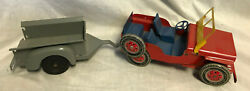 Collectible Vtg Pressed Steel Louis Marx Willy's Jeep And Trailer Red/gray Toy