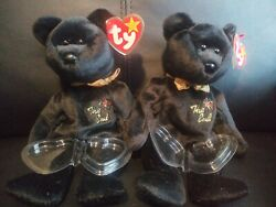 A Pair Of Ty Beanie Babies The End Bear - Retired With Errors