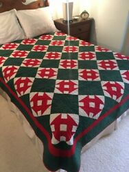 Antique Ohio Mennonite Quilt Red Green And White Calico Monkey Wrench 18903