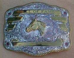 1992 Crumrine Hall Of Fame Trophy Rodeo Belt Buckle Silver Plate Jewelers Bronze