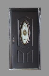 Steel Entrance Front Door Oval Lite With Welded Frame And Multipoint Lock 36