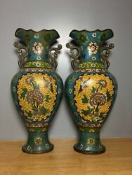 14.2 China Old Qing Dynasty Qianlong A Pair Bronze Cloisonne Flower Bird Vase