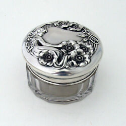 Queen Of The Flowers Glass Dresser Jar Unger Bros Sterling Silver Lid 1903