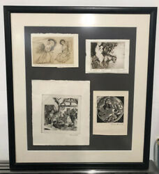 Ernest Freed Original Artwork Signed Flight To Egypt, Annunciation And 2 Untitled