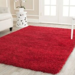 Solid Cozy Red Shag Area Rug Rugs 8and039 X 10and039 4 6 5 8 7 10 8 10 9 12 10 13 11 15