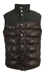 D'amico Vest Leather Men Dark Brown/wool Charcoal With Zip And Buttons Mod.