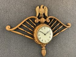 Mid Century Early American Welby Battery Wall Clock Eagle Design - German