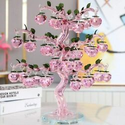 Glass Crystal Apple Tree Figurines Crafts Fengshui Ornament Sculptures Decor