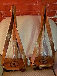 Wooden Wall Sconces Pair W/glass Hurricane Globes