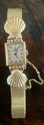 Vintage Omega 14k Ladies Watch Deville Limited Edition Wristwatch With Diamonds