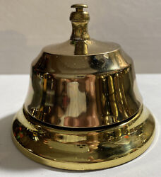 Solid Brass Base And Top W/ Bronze Bell Vintage Hotel Working Desk Service Bell.