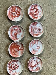 Fornasetti Milano Le Oceanidi Red Set Of 8 Coaster Plates 4 Inches Made In Italy