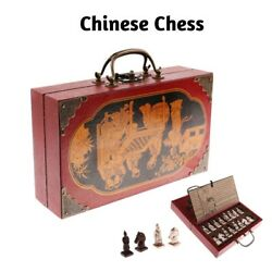 Chinese Chess Board Game Wooden Antique Carved Warrior Collectible Set Folding