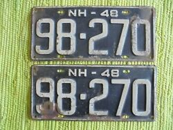1948 New Hampshire License Plate Matched Pair 48 Nh Tag 98-270 Plates
