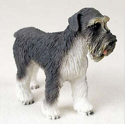 SCHNAUZER DOG Gray Uncropped Figurine Statue Hand Painted Resin Natural Ears