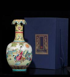 13.8 Old China Porcelain Qing Dynasty Qian Long Famille Rose Beauty Child Vase