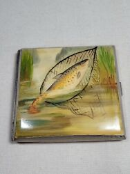 Vintage Sterling Silver Angler Fishing Hand Painted Cigarette Case Fish