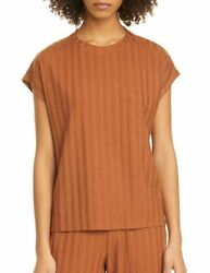 Eileen Fisher Burnt Orange Ribbed Top Size L 178